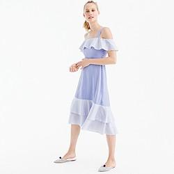 Petite cold-shoulder silk dress