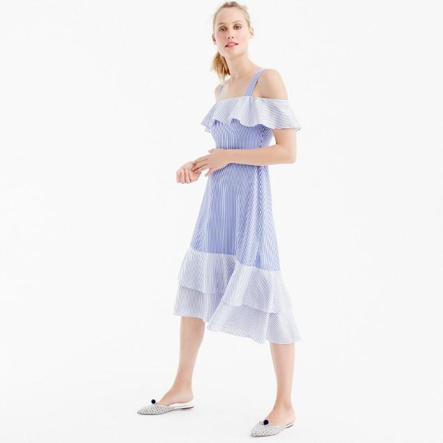 Striped cold-shoulder silk dress