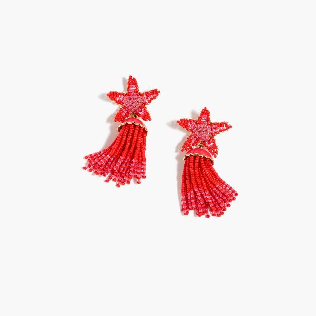 Beaded star tassel earrings
