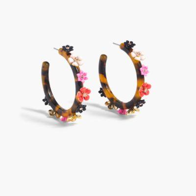 Flower clock hoop earrings