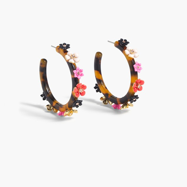 Flower clock hoop earrings