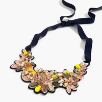Botanical embroidered crystal bib necklace