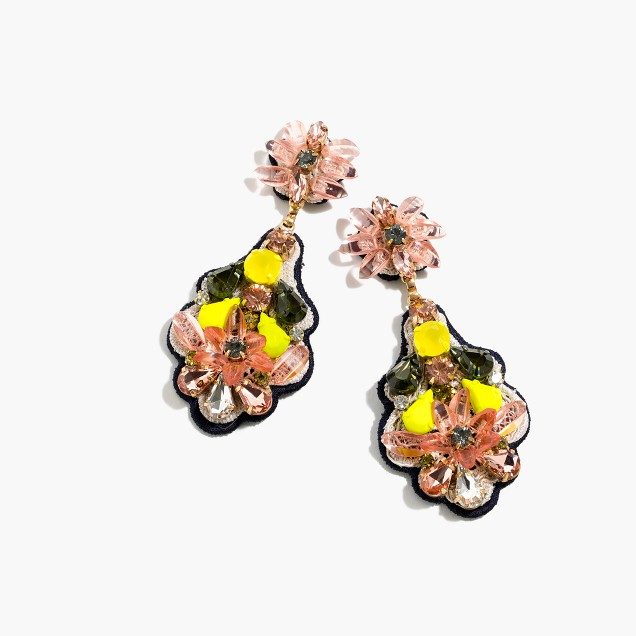 Botanical embroidered earrings