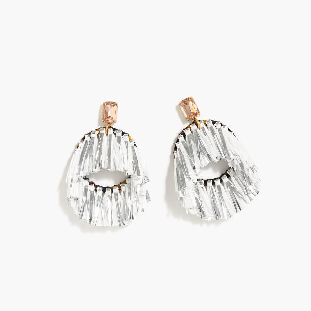 Metallic raffia hoop earrings