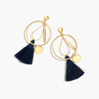 Abstract tassel hoop earrings