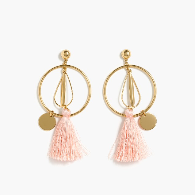 Abstract tassel hoop earrings