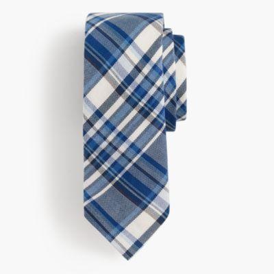 Italian silk tie in blue plaid