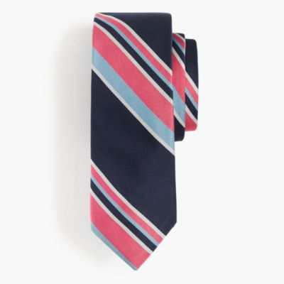 Italian silk tie in wide stripe