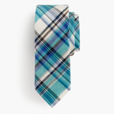 Italian cotton-linen tie in plaid
