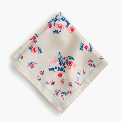 Italian silk pocket square in floral print