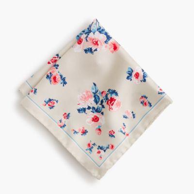 Italian silk pocket square in floral print