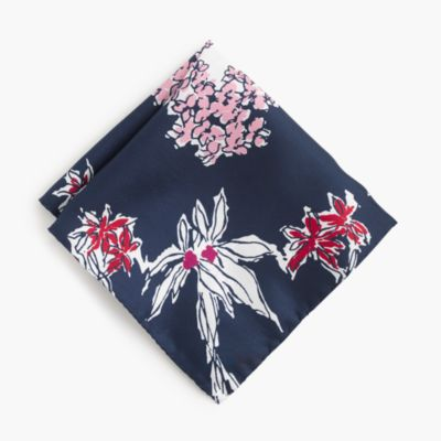 Italian silk pocket square in flower print