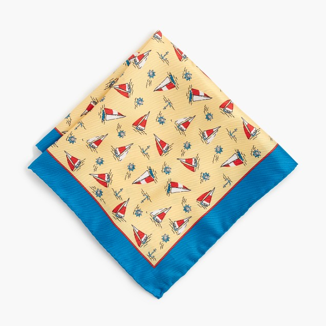 Italian silk pocket square in sailboat print