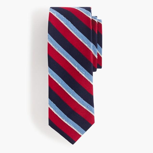 English silk tie in blue stripe