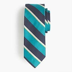 English silk tie in green stripe