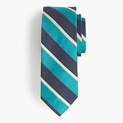 English silk tie in green stripe