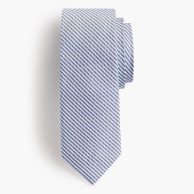 English silk tie in seersucker