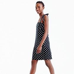 Petite tie-strap dress in polka dot