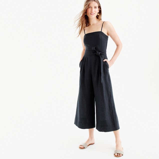 Linen jumpsuit with tie