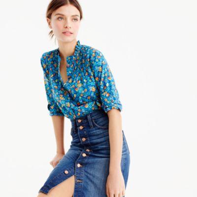 Ruffled popover in blue Liberty® Edenham floral