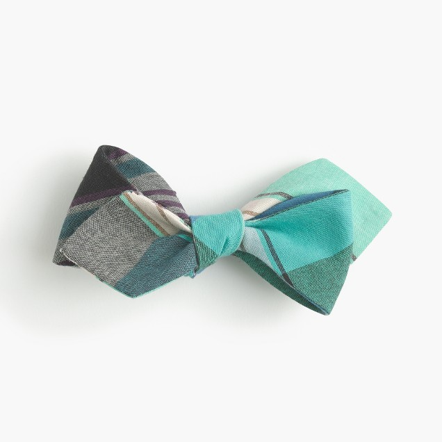 Cotton bow tie in teal madras