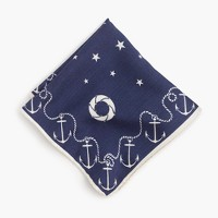 Cotton pocket square with anchor border