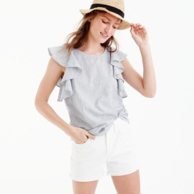 Petite ruffle top in stripe