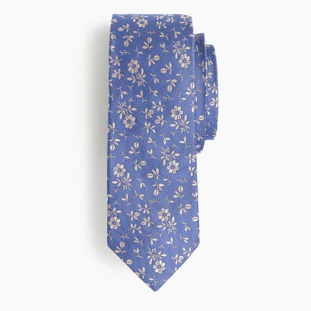 English silk tie in floral print