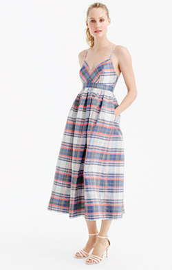 Spaghetti-strap dress in vintage plaid silk shantung
