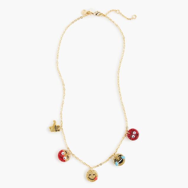 Girls' glitter emoji charm necklace