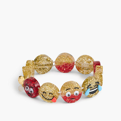Girls' glitter emoji bracelet