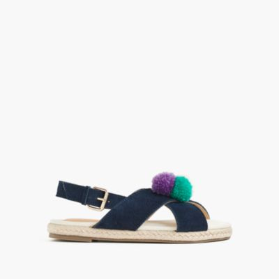 Girls' Cyprus espadrille sandals with pom-poms