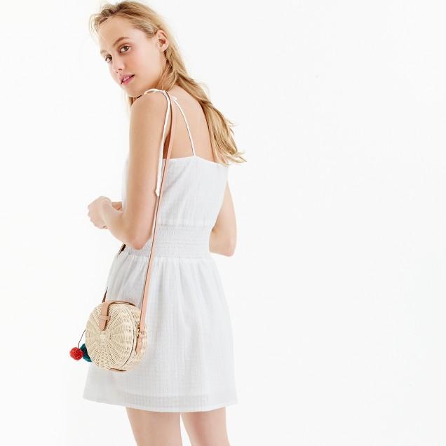 Smocked-waist dress in textured cotton