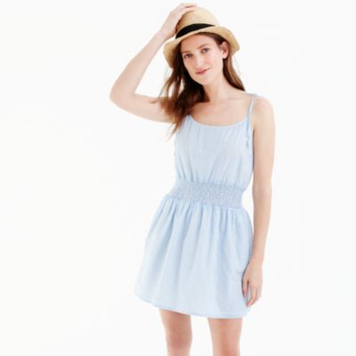 Striped smocked-waist dress with tie shoulders