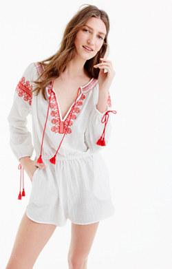 Embroidered cotton-linen beach romper