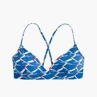 French cross-back bikini top in diver print