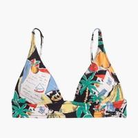 Deep V-neck French bikini top in postcard print