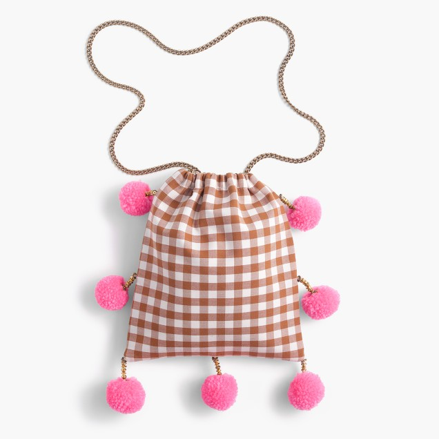 Gaia™ for J.Crew pom-pom bag in gingham