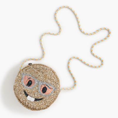 Girls' glitter nerd emoji bag