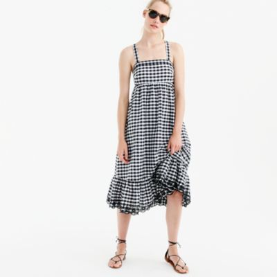 Tall puckered gingham dress with eyelet trim
