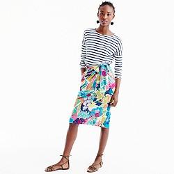 Petite tie-waist skirt in seaside floral