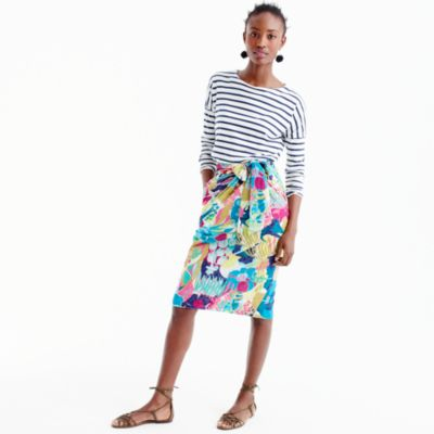Tie-waist skirt in seaside floral