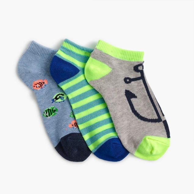 Boys' fish ankle socks three-pack