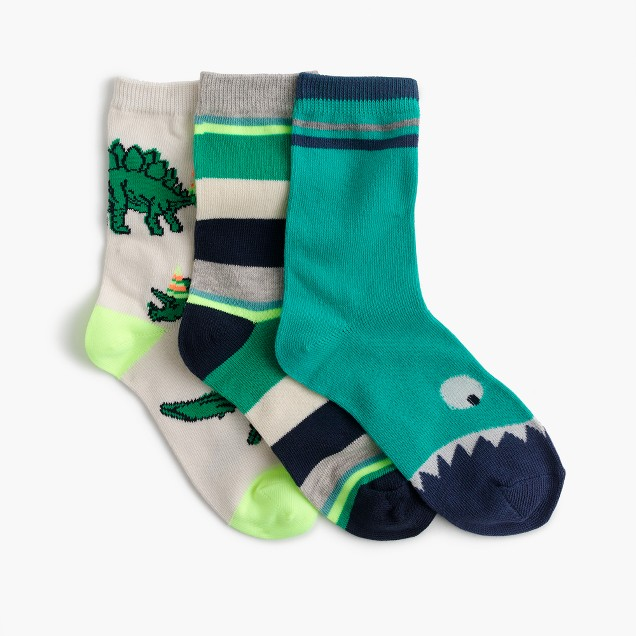 Boys' dinosaur socks three-pack