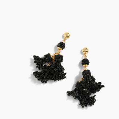 Beaded tassel chandelier earrings