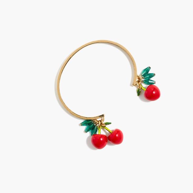 Cherry charm cuff bracelet