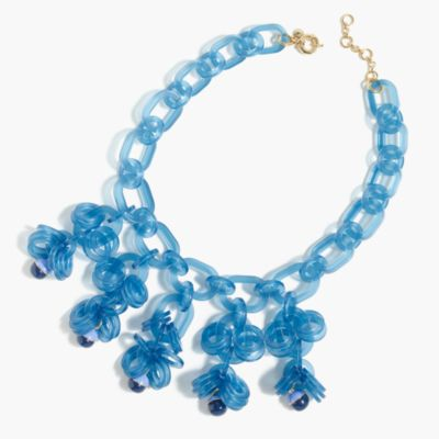 Translucent link statement necklace