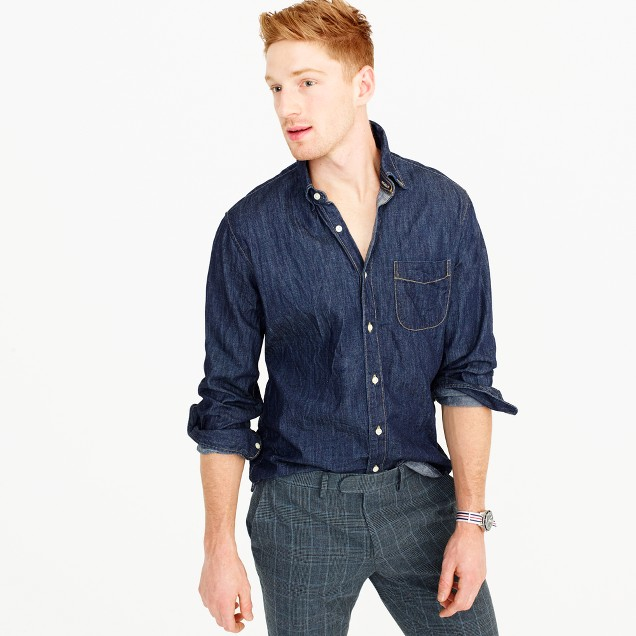 Slim lightweight denim shirt in dark wash