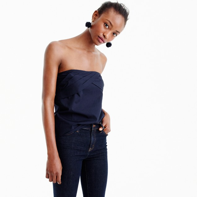 Strapless cross-front top