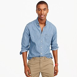Lightweight denim shirt in light wash
